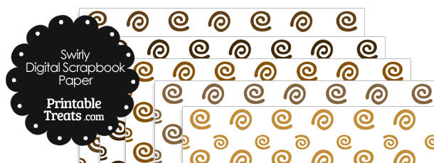 Brown Swirls Digital Scrapbook Paper