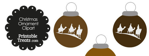 Brown Three Wise Men Christmas Ornament Clipart