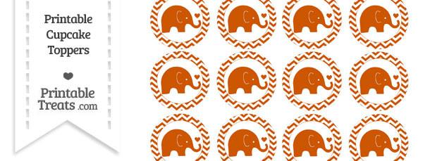 Burnt Orange Baby Elephant Chevron Cupcake Toppers