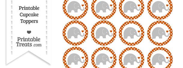 Burnt Orange Polka Dot Baby Elephant Cupcake Toppers