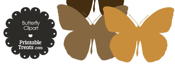 Butterfly Clipart in Shades of Brown from PrintableTreats.com