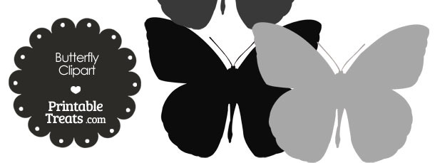 Butterfly Clipart in Shades of Grey from PrintableTreats.com