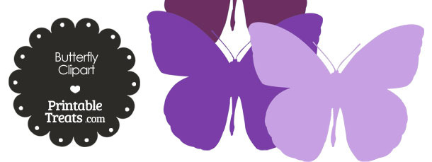 Butterfly Clipart in Shades of Purple from PrintableTreats.com