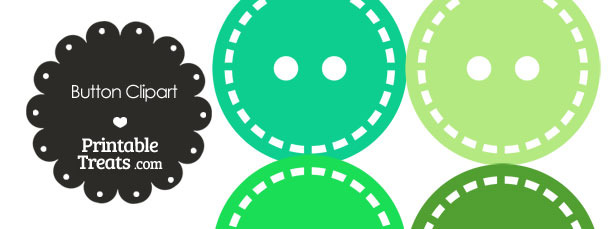 Button Clipart in Shades of Green