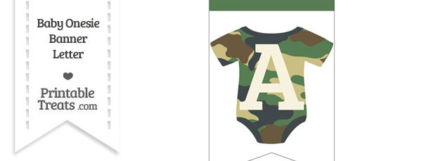 Camouflage Baby Onesie Bunting Banner Letter A