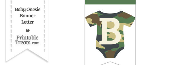 Camouflage Baby Onesie Bunting Banner Letter B