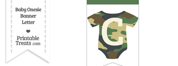 Camouflage Baby Onesie Bunting Banner Letter C