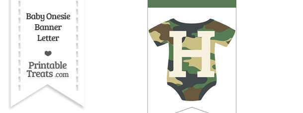Camouflage Baby Onesie Bunting Banner Letter H