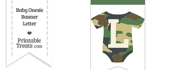 Camouflage Baby Onesie Bunting Banner Letter L