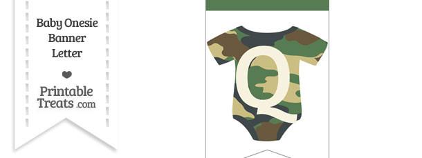 Camouflage Baby Onesie Bunting Banner Letter Q