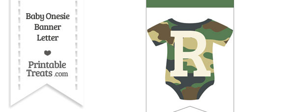 Camouflage Baby Onesie Bunting Banner Letter R