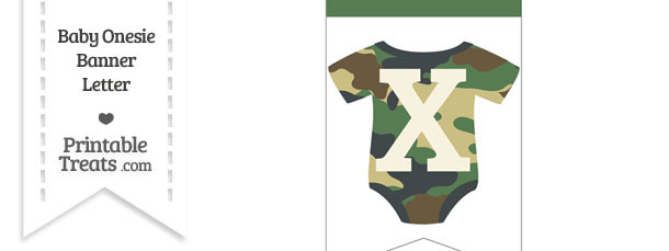 Camouflage Baby Onesie Bunting Banner Letter X