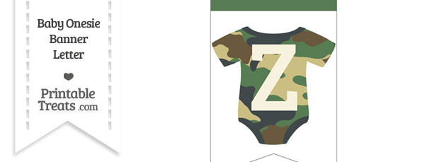 Camouflage Baby Onesie Bunting Banner Letter Z