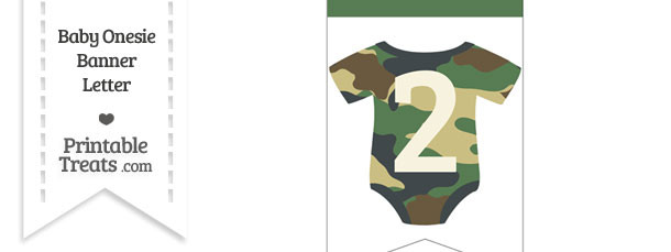 Camouflage Baby Onesie Bunting Banner Number 2