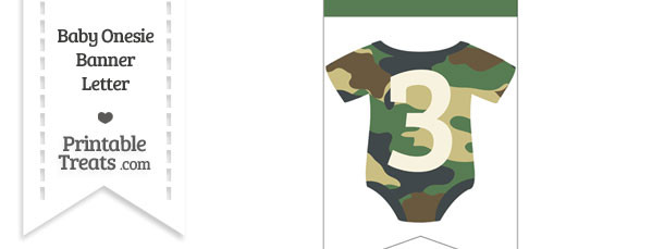 Camouflage Baby Onesie Bunting Banner Number 3