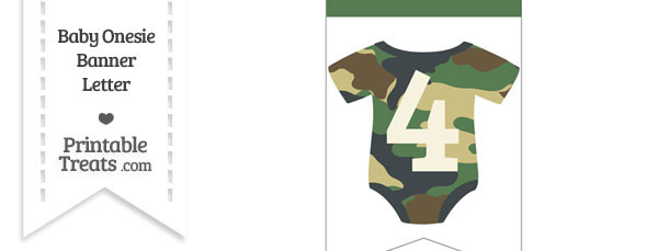 Camouflage Baby Onesie Bunting Banner Number 4