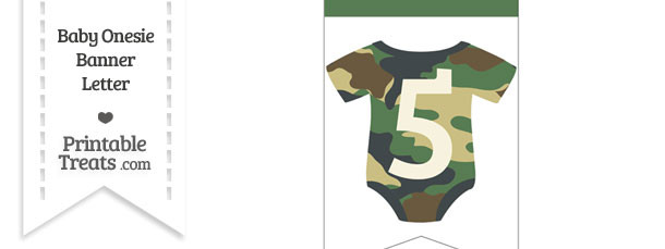 Camouflage Baby Onesie Bunting Banner Number 5