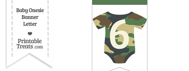 Camouflage Baby Onesie Bunting Banner Number 6