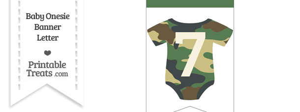 Camouflage Baby Onesie Bunting Banner Number 7