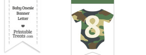 Camouflage Baby Onesie Bunting Banner Number 8