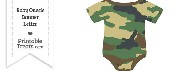 Camouflage Baby Onesie Shaped Banner Blank Spacer Flag