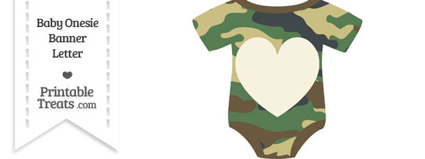 Camouflage Baby Onesie Shaped Banner Heart End Flag