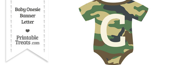 Camouflage Baby Onesie Shaped Banner Letter C