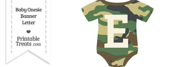 Camouflage Baby Onesie Shaped Banner Letter E