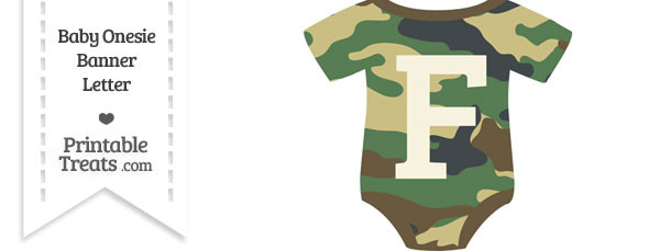 Camouflage Baby Onesie Shaped Banner Letter F