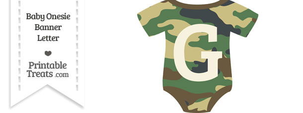 Camouflage Baby Onesie Shaped Banner Letter G