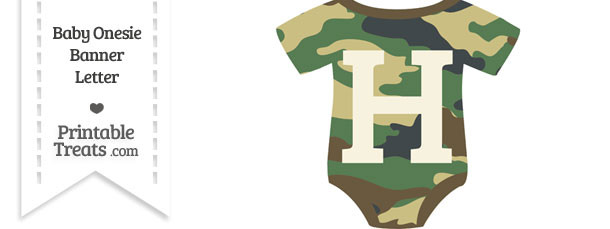 Camouflage Baby Onesie Shaped Banner Letter H