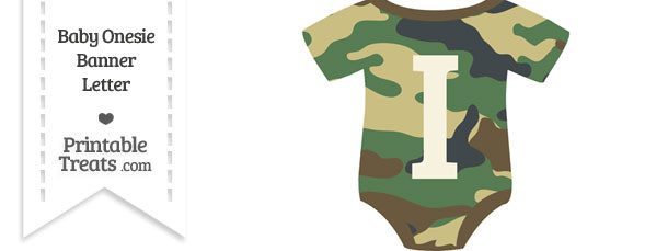 Camouflage Baby Onesie Shaped Banner Letter I