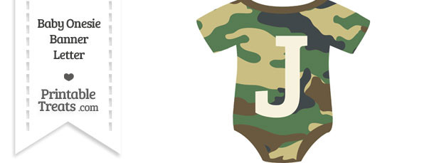 Camouflage Baby Onesie Shaped Banner Letter J
