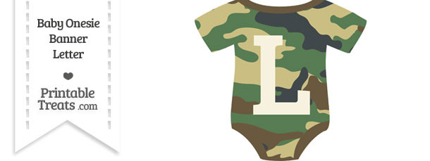 Camouflage Baby Onesie Shaped Banner Letter L