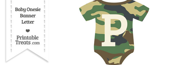 Camouflage Baby Onesie Shaped Banner Letter P
