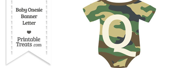 Camouflage Baby Onesie Shaped Banner Letter Q