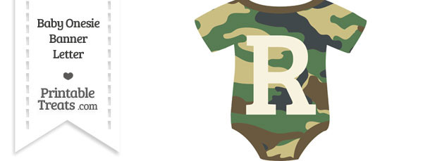 Camouflage Baby Onesie Shaped Banner Letter R