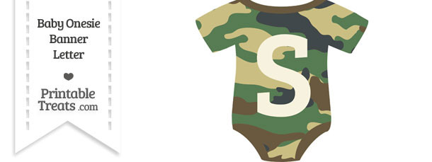 Camouflage Baby Onesie Shaped Banner Letter S