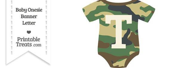 Camouflage Baby Onesie Shaped Banner Letter T