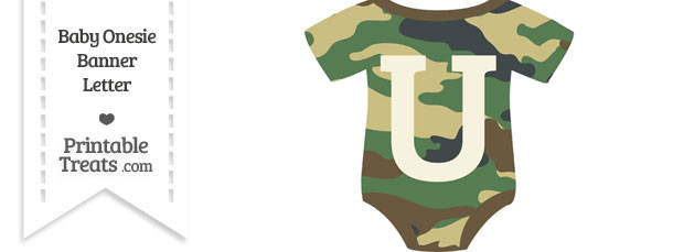 Camouflage Baby Onesie Shaped Banner Letter U