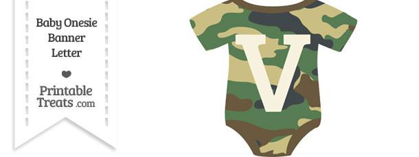 Camouflage Baby Onesie Shaped Banner Letter V