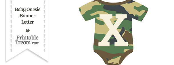 Camouflage Baby Onesie Shaped Banner Letter X