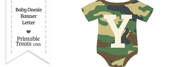 Camouflage Baby Onesie Shaped Banner Letter Y
