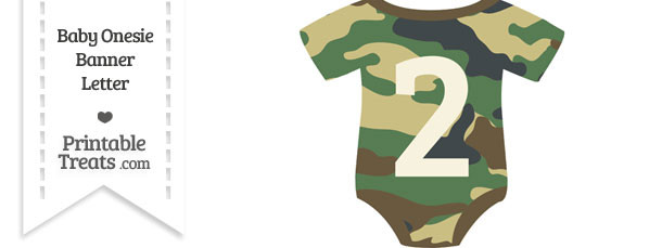 Camouflage Baby Onesie Shaped Banner Number 2