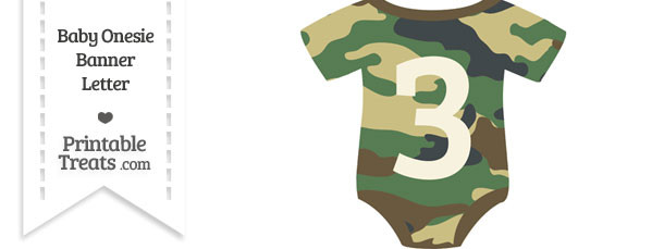 Camouflage Baby Onesie Shaped Banner Number 3