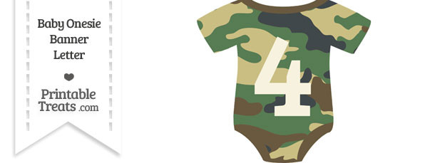 Camouflage Baby Onesie Shaped Banner Number 4