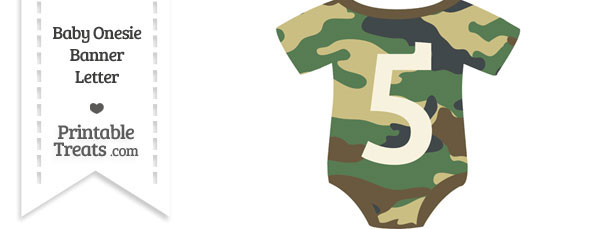 Camouflage Baby Onesie Shaped Banner Number 5
