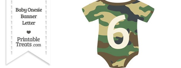 Camouflage Baby Onesie Shaped Banner Number 6