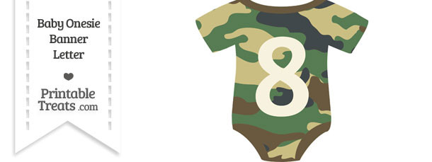 Camouflage Baby Onesie Shaped Banner Number 8