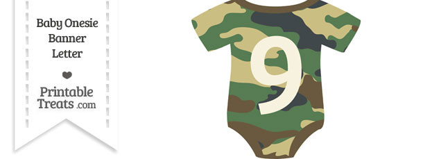 Camouflage Baby Onesie Shaped Banner Number 9